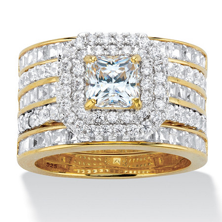Princess-Cut Cubic Zirconia 3-Piece Double Halo Wedding Ring Set 3.64 TCW in 14k Gold over Sterling Silver at PalmBeach Jewelry