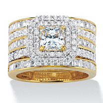 Princess-Cut Cubic Zirconia 3-Piece Double Halo Wedding Ring Set 3.64 TCW in 14k Gold over Sterling Silver