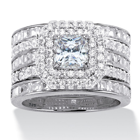 3.64 TCW Princess-Cut Cubic Zirconia Platinum over Sterling Silver Double Halo Engagement Ring at PalmBeach Jewelry