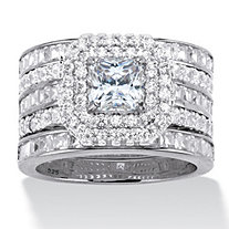 3.64 TCW Princess-Cut Cubic Zirconia Platinum over Sterling Silver Double Halo Engagement Ring