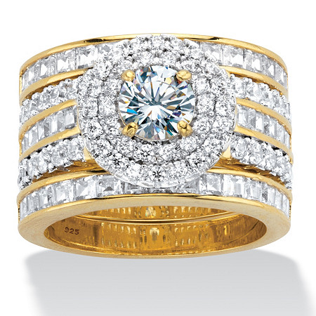 Round Cubic Zirconia 3-Piece Double Halo Multi-Row Wedding Ring Set 3.60 TCW in 14k Gold over Sterling Silver at PalmBeach Jewelry