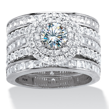Round Cubic Zirconia 3-Piece Double Halo Multi-Row Wedding Ring Set 3.60 TCW in Platinum over Sterling Silver at PalmBeach Jewelry