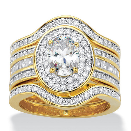 Oval-Cut Cubic Zirconia 3-Piece Double Halo Scalloped Wedding Ring Set 2.60 TCW 14k Gold-Plated at PalmBeach Jewelry