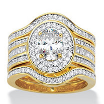 Oval-Cut Cubic Zirconia 3-Piece Double Halo Scalloped Wedding Ring Set 2.60 TCW 14k Gold-Plated