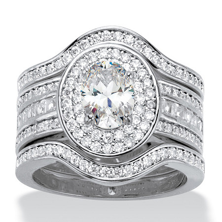 Oval-Cut Cubic Zirconia 3-Piece Double Halo Wedding Ring Set 2.60 TCW Platinum-Plated at PalmBeach Jewelry