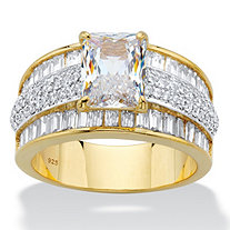 Emerald and Baguette-Cut Cubic Zirconia Engagement Ring 6.17 TCW in 14k Gold over Sterling Silver