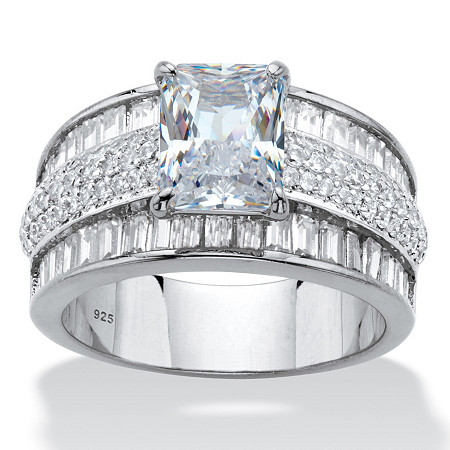 Emerald and Baguette-Cut Cubic Zirconia Engagement Ring 6.17 TCW in Platinum over Sterling Silver at PalmBeach Jewelry