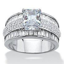 Emerald and Baguette-Cut Cubic Zirconia Engagement Ring 6.17 TCW in Platinum over Sterling Silver