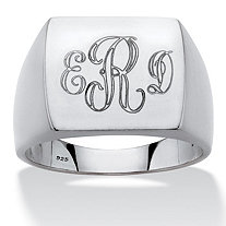 Men's Personalized Platinum over Sterling Silver Initial I.D. Ring