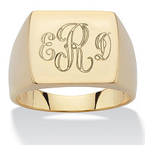 SETA JEWELRY Men's Personalized Initial I.D. Ring in 14k Gold over Sterling Silver
