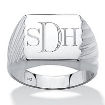 Men's Personalized Grooved Monogrammed Initial Ring in Platinum over Sterling Silver