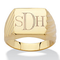 Men's Personalized Grooved Monogrammed Initial Ring in 14k Gold-Plated