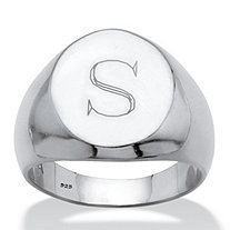Men's Oval Personalized Platinum over Sterling Silver Monogrammed Initial Ring