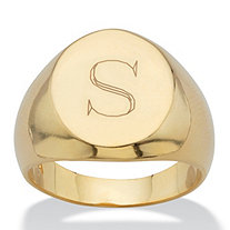 Men's Oval Personalized Monogrammed Initial Ring in 14k Gold-Plated