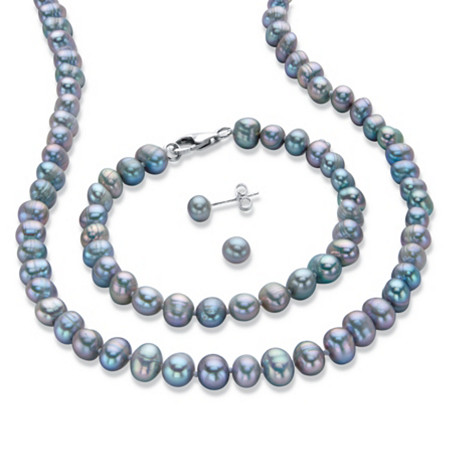 "Grey Genuine Freshwater Cultured Pearl 3-Piece Stud Earring, Strand Necklace and Bracelet Set 18"" at PalmBeach Jewelry"