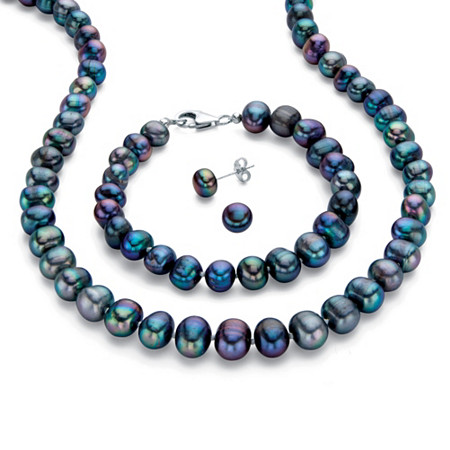 Peacock Blue Genuine Freshwater Cultured Pearl 3-Piece Stud Earring, Strand Necklace and Bracelet Set 18