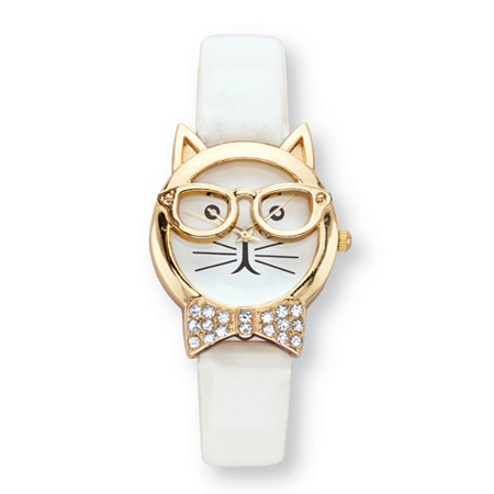 "Crystal Accent Bowtie Cat Watch With White Face and Adjustable White Strap in Gold Tone 8"" at PalmBeach Jewelry"