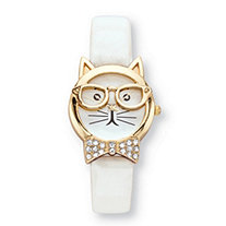 Vernier Crystal Accent Bowtie Cat Watch With White Face and Adjustable White Strap in Gold Tone 8""