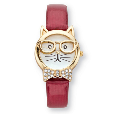 "Crystal Accent Bowtie Cat Watch With White Face and Adjustable Red Strap in Gold Tone 8"" at PalmBeach Jewelry"