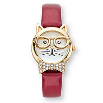 Crystal Accent Bowtie Cat Watch With White Face and Adjustable Red Strap in Gold Tone 8""