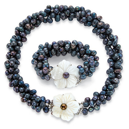 "Genuine Freshwater Cultured Peacock Blue Pearl Silvertone 2-Piece Floral Strand Necklace and Bracelet Set 18"" at PalmBeach Jewelry"