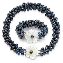 Genuine Freshwater Cultured Peacock Blue Pearl Silvertone 2-Piece Floral Strand Necklace and Bracelet Set 18