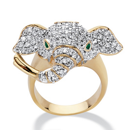 Round Cubic Zirconia and Green Crystal Accent  Elephant Ring 1.65 TCW 14k Gold-Plated at PalmBeach Jewelry