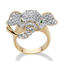 Round Cubic Zirconia and Green Crystal Accent Elephant Ring 1.65 TCW 14k Gold-Plated