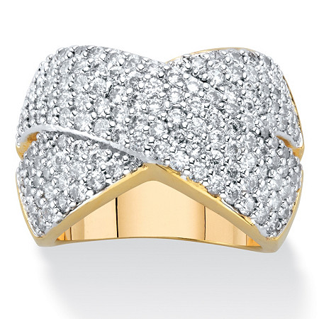 Round Cubic Zirconia Crossover Cocktail Ring 2.65 TCW 14k Gold-Plated at PalmBeach Jewelry