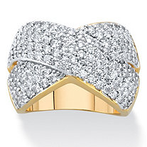 Round Cubic Zirconia Crossover Cocktail Ring 2.65 TCW 14k Gold-Plated