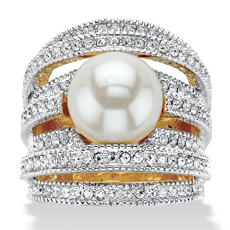 Simulated Pearl and Round Crystal Multi-Row Cocktail Ring in Silvertone at PalmBeach Jewelry