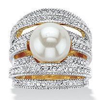 Simulated Pearl and Round Crystal Multi-Row Cocktail Ring in Silvertone