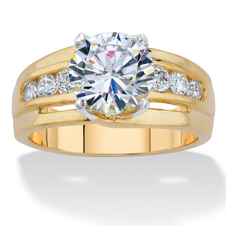 Round Cubic Zirconia Single Row Engagement Ring 3.46 TCW 14k Gold-Plated at PalmBeach Jewelry