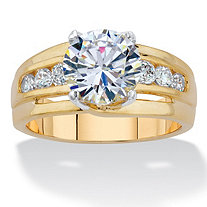 Round Cubic Zirconia Single Row Engagement Ring 3.46 TCW 14k Gold-Plated
