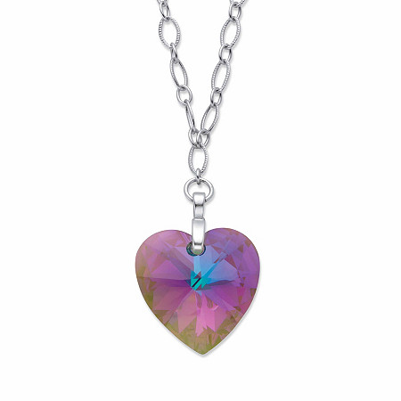 """Aurora Borealis Heart-Shaped Crystal Rolo-Link Pendant Necklace in Silvertone 30"""" at PalmBeach Jewelry"""