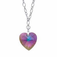 Aurora Borealis Heart-Shaped Crystal Rolo-Link Pendant Necklace