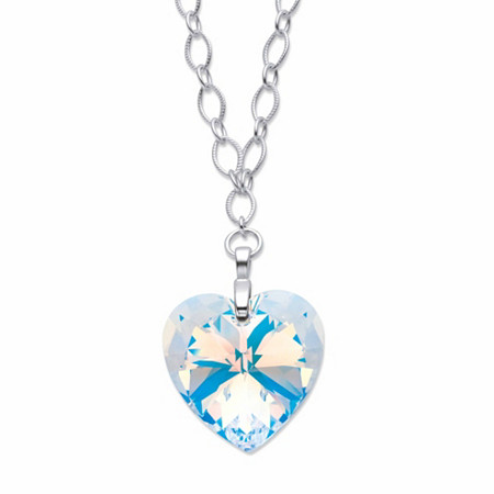 "Aurora Borealis Crystal Heart-Shaped Rolo-Link Necklace in Silvertone 16.5"" at PalmBeach Jewelry"