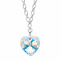 Aurora Borealis Crystal Heart-Shaped Rolo-Link Necklace in Silvertone 16.5