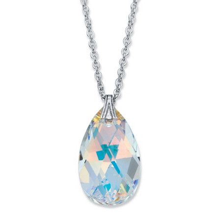 """Pear-Cut Faceted Aurora Borealis Crystal Pendant Necklace in Silvertone 17""""-19"""" at PalmBeach Jewelry"""
