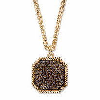 Smoky Simulated Druzy Crystal Octagon Pendant Necklace in Gold Tone 18