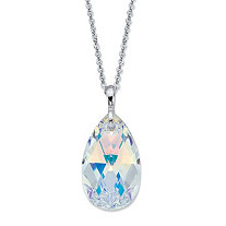 "Pear-Cut Faceted Aurora Borealis Crystal Silvertone Pendant Necklace MADE WITH SWAROVSKI ELEMENTS 17""-19"""
