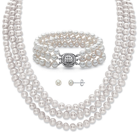 """Genuine Freshwater Cultured Pearl 3-Piece Triple-Strand Stud Earring, Necklace and Bracelet Set in Sterling Silver 18"""" at PalmBeach Jewelry"""