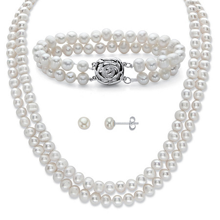 """Genuine Freshwater Cultured Pearl 3-Piece Floral Accent Stud Earring, Double Strand Necklace and Bracelet Set in Sterling Silver 18"""" at PalmBeach Jewelry"""
