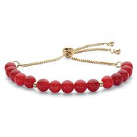 Genuine Agate Birthstone Beaded Adjustable Bolo Bracelet