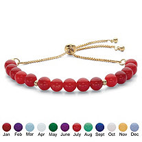 SETA JEWELRY Genuine Agate Birthstone Beaded Adjustable Bolo Bracelet in Gold Tone 8
