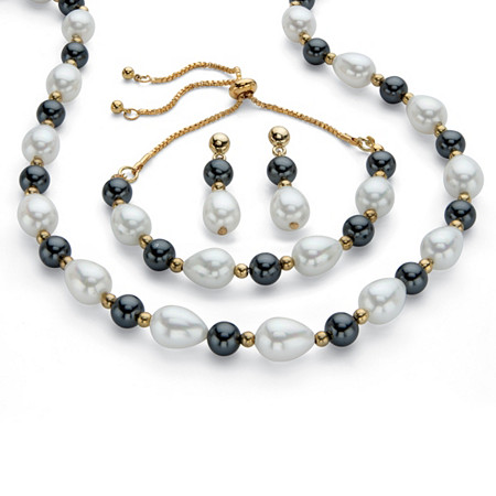 Simulated White and Grey Pearl Gold Tone 3-Piece Drop Earring, Necklace and Bolo Bracelet Set Adjustable 18