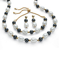 Simulated White and Grey Pearl Gold Tone 3-Piece Drop Earring, Bolo Necklace and Bolo Bracelet Set Adjustable 18