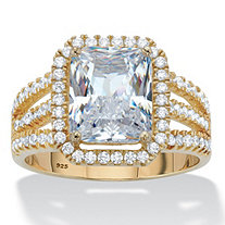 Emerald-Cut Cubic Zirconia Halo Triple-Shank Engagement Ring 4.38 TCW in 14k Gold over Sterling Silver