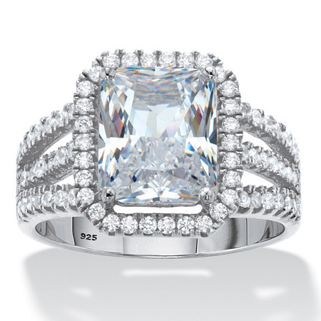 Emerald-Cut Cubic Zirconia Halo Triple-Shank Engagement Ring 4.38 TCW in Platinum over Sterling Silver at PalmBeach Jewelry