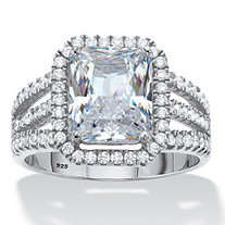 Emerald-Cut Cubic Zirconia Halo Triple-Shank Engagement Ring 4.38 TCW in Platinum over Sterling Silver